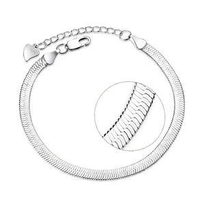 NEW S925 Flat Double Layer Snake Chain Bracelet …